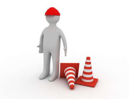 3d man in overalls beside traffic cones Banque d'images