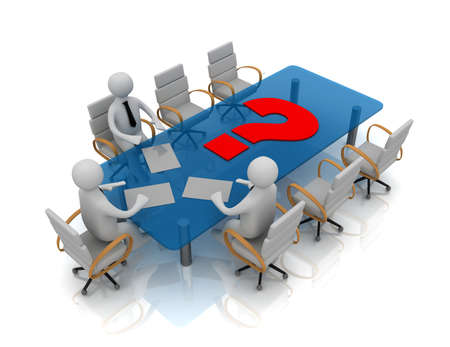 3d people - man, person at conference table and question mark Stock Photo
