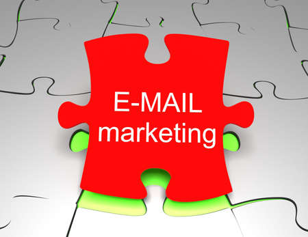 mail marketing on puzzle background 3d