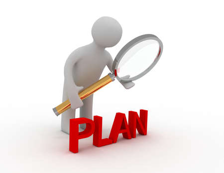 3d man with lens and word plan