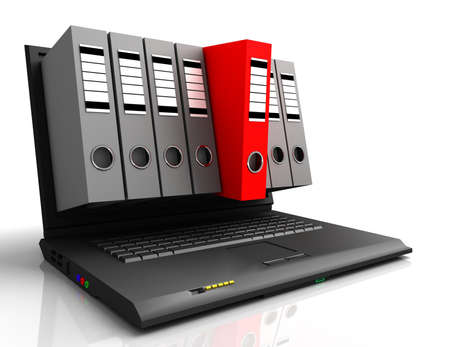laptop and folders Standard-Bild