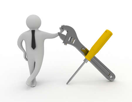 person with a screwdriver and a wrench