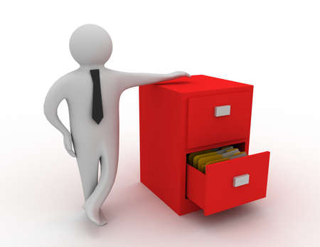 3d man and open drawer with folders