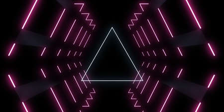 3D abstract background with neon lights. space construction . 3d illustration