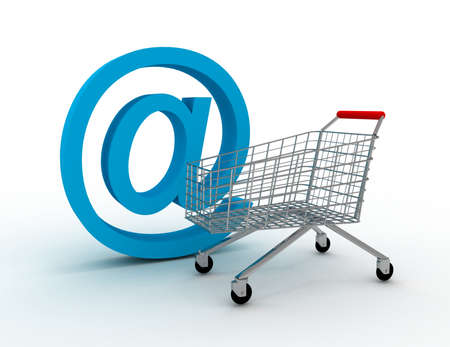 shopping cart with e-mail 免版税图像