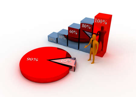 3d charts and businessman