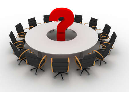 3d table and question mark Stock Photo