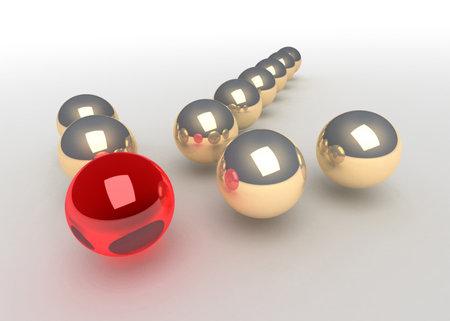 concept balls forming arrow Stock Photo