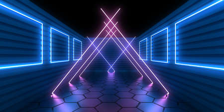 3D abstract background with neon lights. neon tunnel  .space construction . .3d illustration