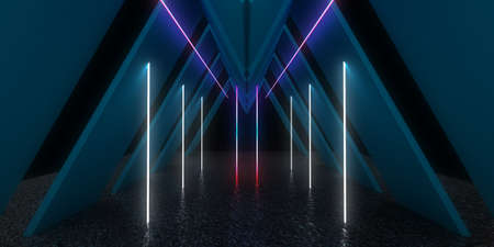 3D abstract background with neon lights.  .space construction . .3d illustration