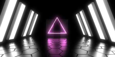 3D abstract background with neon lights. neon tunnel  3d illustration.