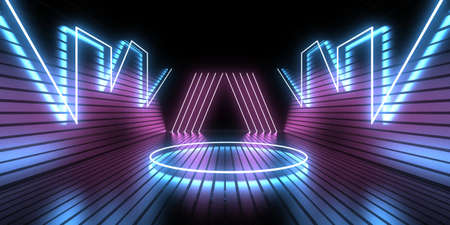 3D abstract background with neon lights.