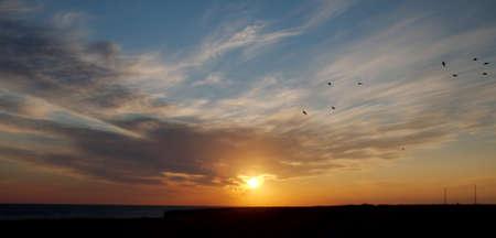 hots: sunset, Cape Tarhankut, Tarhan Qut, Crimea, Ukraine, Eastern Europe Stock Photo