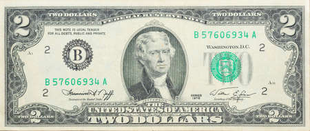 let: Historic banknote, Anniversary two US dollars 1976 (let out to 200 years - declaration Signing independence 1776)