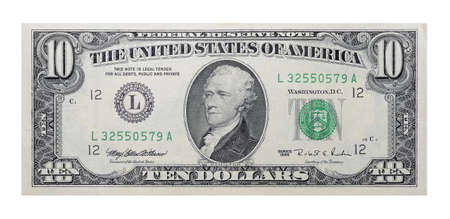 pecuniary: 10 US dollars banknote