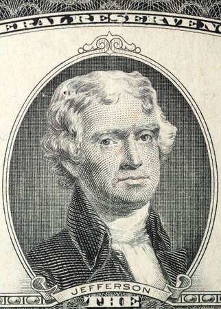 Historic banknote, Portrait of the U.S. President of Jefferson in Anniversary two US dollars 1976 (let out to 200 years - declaration Signing independence 1776)
