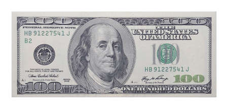 singly: 100 US dollars banknote