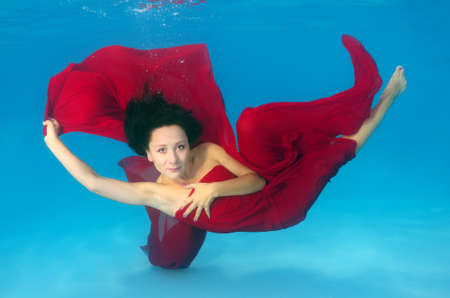 Woman presenting underwater fashion in pool