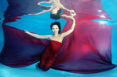 40 something: Woman presenting underwater fashion in pool