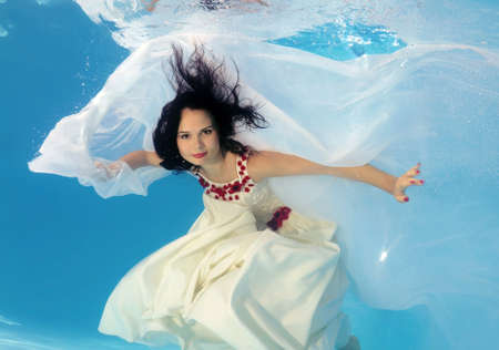 30 something women: Woman presenting underwater fashion in pool