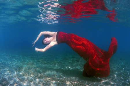 fair skinned: Woman with Underwater fashion in Aegean Sea, island Symi, Greece