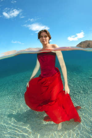 singly: Woman with Underwater fashion in Aegean Sea, island Symi, Greece