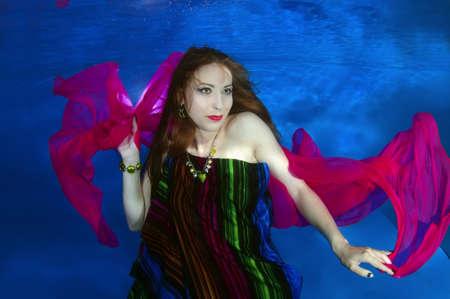 Woman presenting underwater fashion in a pool, Far East, Primorye, Primorsky Krai, Russia