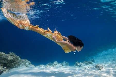 Mermaid swim underwater, Indian Ocean, Maldives