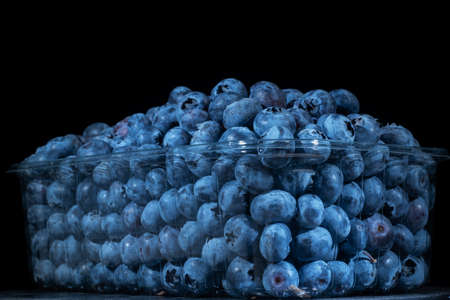 Fresh blueberries in disposable plastic food pack on black background. Close-up of Bog bilberry, bog blueberry, northern bilberry or western blueberry (Vaccinium uliginosum)
