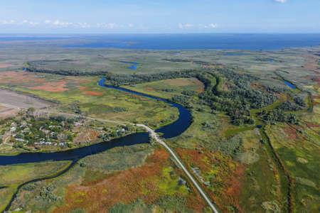 KARTAL LAKE, ORLOVKA VILLAGE, RENI RAION, ODESSA OBLAST, UKRAINE - SEPTEMBER 03, 2020: Aerial view on Kartal lake Reklamní fotografie