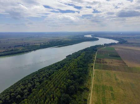 AERIAL VIEW ON DANUBE RIVER, IZMAIL RAION, ODESSA OBLAST, UKRAINE