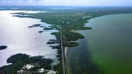 Aerial view on Kuhurlui & Yalpuh lakes Orlovka village, Reni raion, Odessa oblast, Ukraine, Eastern Europe
