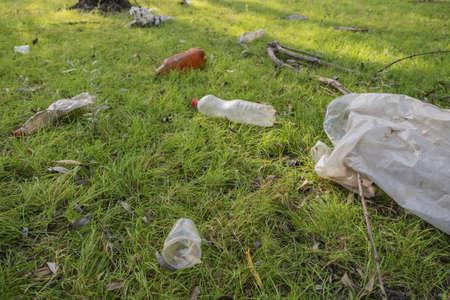Plastic and other garbage thrown by tourists pollutes parks. Plastic garbage environmental pollution problem. Kartal Eco Park, Orlovka village, Reni raion, Odessa oblast, Ukraine, Eastern Europe