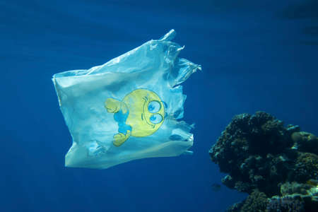 Plastic pollution, Close-up of white plastic bag with yellow smiley slowly drifting underwater over coral reef