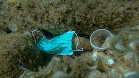 Plastic pollution - Bottles, bags and other plastic debris on seabed. Coronavirus COVID-19 is contributing to pollution, as discarded used masks clutter polluting sea bottom along with plastic trash Reklamní fotografie