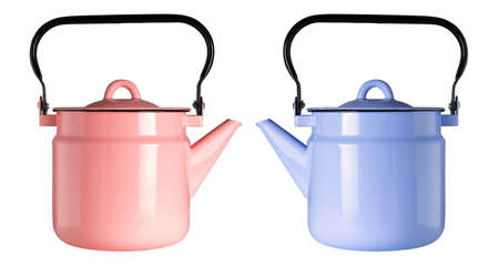 kettles: Red and blue kettle isolated on white background