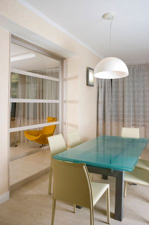 spaciousness: Modern kitchen with table and chair