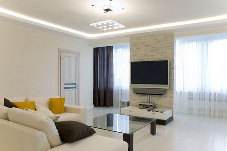 contemporaneous: Hall with TV and sofa