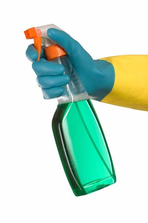 finger on trigger: Window cleaner in hand and gum glove Stock Photo