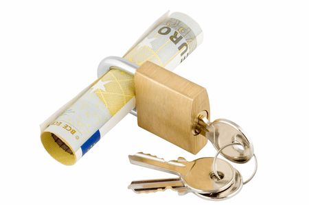Padlock and keys with banknote inside over white background photo