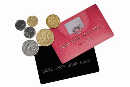 Pink and black cards with coins on the white background Stock Photo - 2747509