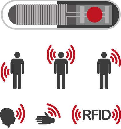 Implantable RFID tag Icon Sign Symbol Pictogram Vector