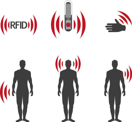 access control: Implantable RFID tag Icon Sign Symbol Pictogram