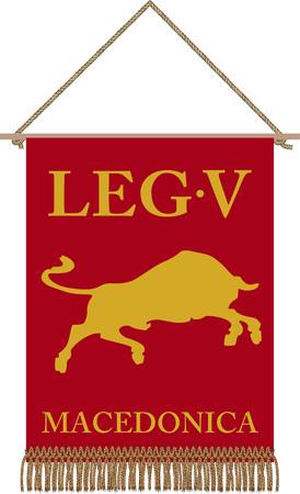 Vector standard of ancient Roman legoin Legio V Macedonica VII Pia VII Fidelis Constans on white background