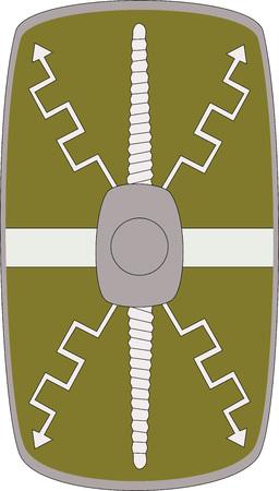 Vector shield of ancient Roman legoin Legio XII Fulminata on white background Illustration