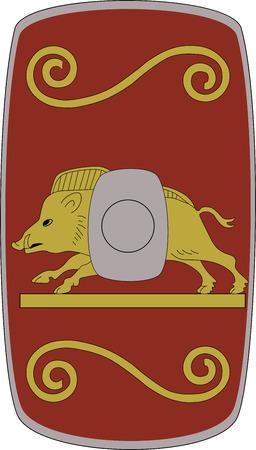 Vector shield of ancient Roman legoin Legio XVI Flavia Firma on white background Illustration