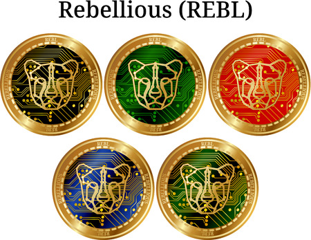 Set of physical golden coin Rebellious (REBL), digital cryptocurrency. Rebellious (REBL) icon set. Vector illustration isolated on white background. Illustration
