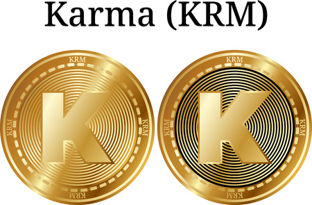Set of physical golden coin Karma (KRM), digital cryptocurrency. Karma (KRM) icon set. Vector illustration isolated on white background.