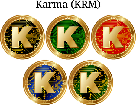 Set of physical golden coin Karma (KRM), digital cryptocurrency. Karma (KRM) icon set. Vector illustration isolated on white background. Vektoros illusztráció