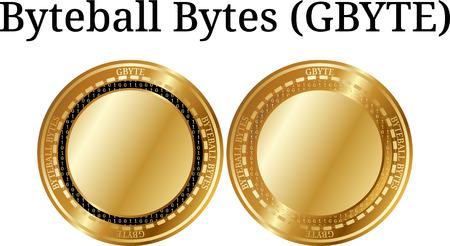 物理ゴールデンコインバイトバイトバイト(GBYTE)、デジタル暗号通貨のセット。バイトボール バイト (GBYTE) アイコン セット。白い背景に分離された